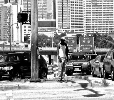pedestrian in car-centric city